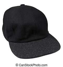 Fine wool black baseball style cap, grey brim, isolated men...
