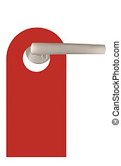 Red Blank Isolated Do Not Disturb Door Tag Isolated - Red...