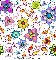 Seamless floral pattern with chaotic flowers (vector)