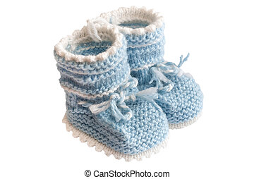 baby's bootee - little light blue baby's bootee for newborn