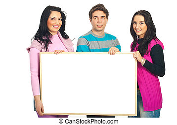 Smiling casual team holding banner - Smiling casual team of...