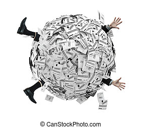 Businessman buried in sphere of financial invoices....