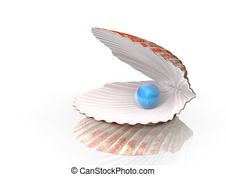 Blue pearl in a shell with clipping paths.