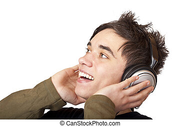Male Teenager listening to music and sings loudly. Isolated...