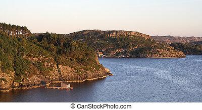 tramonto, roccioso, mare, costa