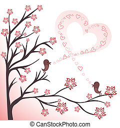 love birds - two love birds on flowering branches sing a...