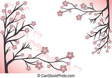 pink background with branches - abstract background with...