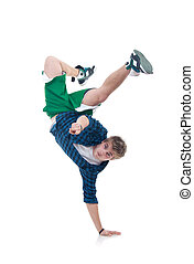 bboy standing on one hand and pointing - Young bboy standing...