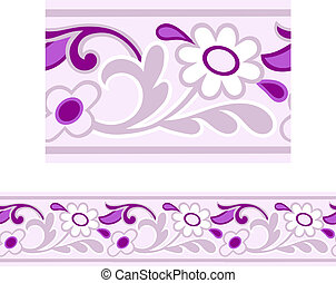 Daisy Border - Vector of a Pink and Purple Girly repeating...