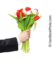 tulips - arm of man giving bouquet