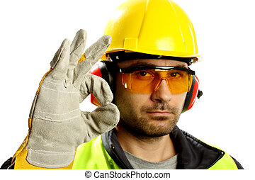 Worker with protective gear with thumbs up