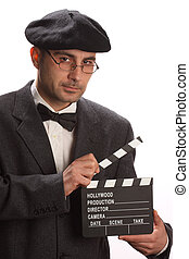 movie clapboard - Old fashioned man holding movie clapboard