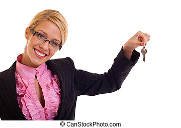 Smiling business woman keys - Smiling business woman holding...