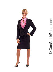 business woman with glasses - Young happy business woman...