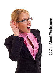 Business woman listening - What Business woman hand on ear...