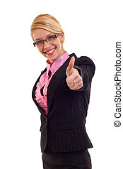 Business woman giving thumbs up sign, isolated on white...