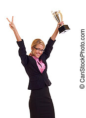 Happy business woman with trophy - Happy business woman...