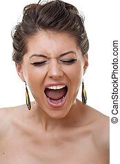 Face of a young crying woman. Close up picture over white