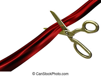 Scissors cutting red ribbon Isolated on white background