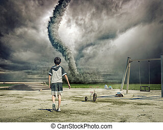 boy and tornado - boy and approaching tornado photo and...