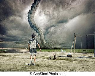 Menino, tornado