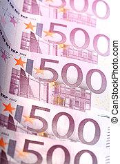 500 euro banknotes macro close up