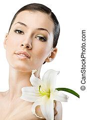 flower girl - beauty flower girl on the grey background