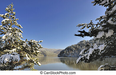 Mountain Snow Scene and lake from Macedonia