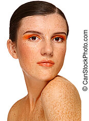 Freckled girl - Portrait of young attractive girl with...
