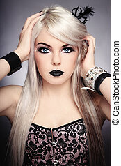 Gothic princess - Beautiful young sexy blond girl with...