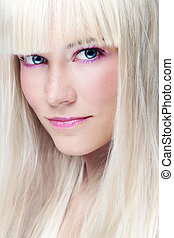 Scandinavian blonde - Close-up portrait of young beautiful...