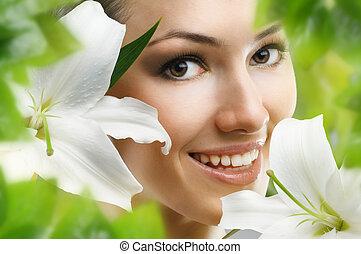 flower girl - beauty flower girl on the green background