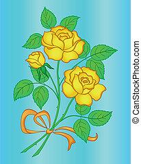 Flowers rose yellow, gradient