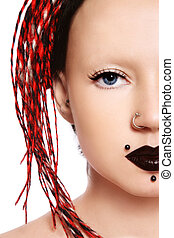 Freaky girl - Close-up portrait of young freaky girl with...