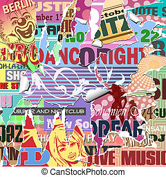 Grunge Poster Background - Vector Grunge Background with Old...