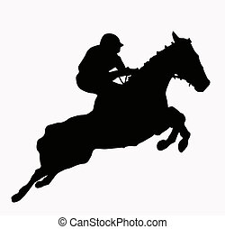 Sport Silhouette - Jokey and horse jumping steeple