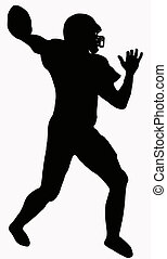 Sport Silhouette - American Football player making ready to...