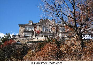casa, pedra, história, dois