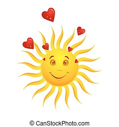 happy sun with hearts - illustration of happy sun with...