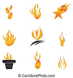 different shapes of fire - illustration of different shapes...