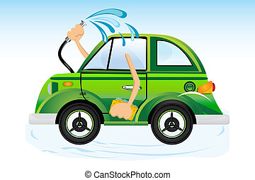 car washing - illustration of car washing on white...