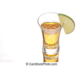Tequila and lime - Tequila shot and a slice of lime