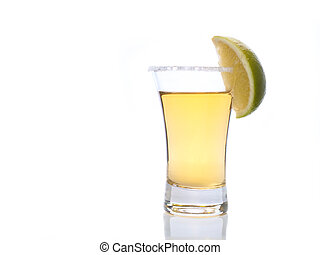 Tequila in a shot glass - tequila shot with salt and lime