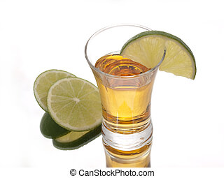 Tequila time - Golden tequila and green limes