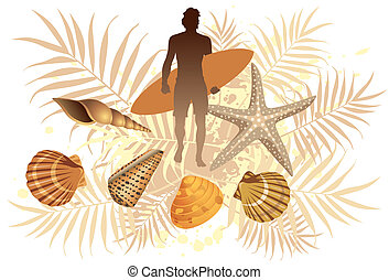 Summer Surf - Graphic vector illustration of a surfer boy...