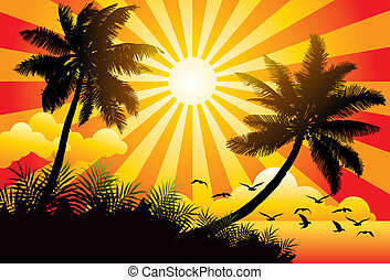 Summer Paradise - Graphic vector illustration of a sunny...