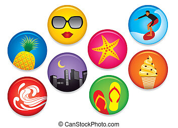 Summer Badges - Vector set of various summer fun badges,...