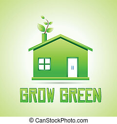 grow green - illustration of grow green with home and tree