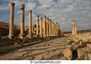 Archeological Excavation in Jerash - Columns of the Cardo...
