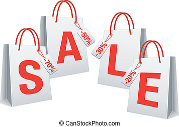 sale, white shopping bags, vector